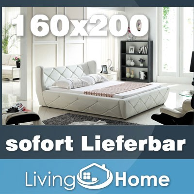 designer polsterbett lederbett doppelbett bettgestell 160x200 cm wei ebay. Black Bedroom Furniture Sets. Home Design Ideas