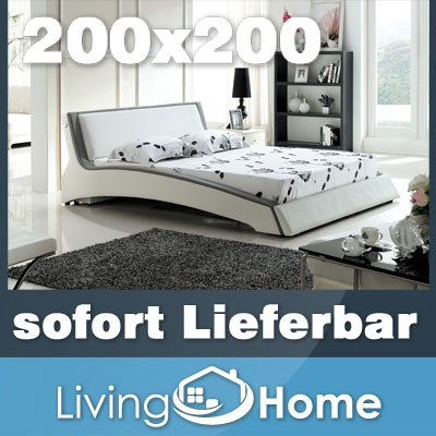 designer polsterbett lederbett doppelbett bettgestell 200x200 wei grau ebay. Black Bedroom Furniture Sets. Home Design Ideas