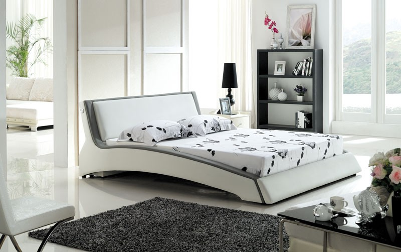 designer polsterbett lederbett doppelbett bettgestell 200x200 wei grau. Black Bedroom Furniture Sets. Home Design Ideas