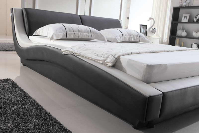 designer polsterbett lederbett doppelbett bettgestell 200x200 schwarz wei ebay. Black Bedroom Furniture Sets. Home Design Ideas