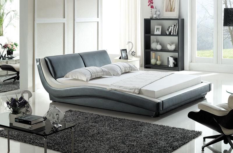 designer polsterbett lederbett doppelbett bettgestell 140x200 schwarz wei ebay. Black Bedroom Furniture Sets. Home Design Ideas